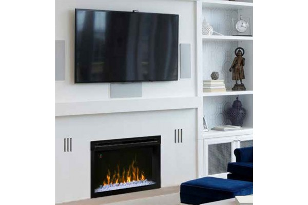 """Dimplex 25"""" Multi-Fire XD Electric Firebox with Curved Front Glass and Acrylic Ember Bed"""