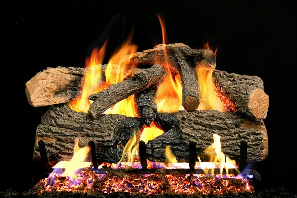 Real Fyre Charred Evergreen Oak Logs with G52 Stainless Steel Burner