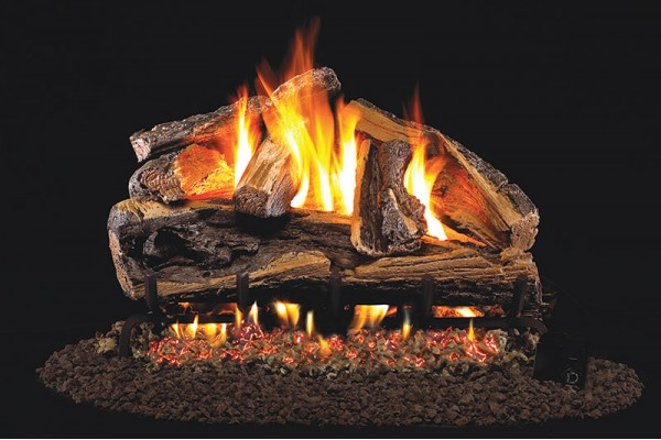 Real Fyre Rugged Split Oak Logs with Stainless Steel G45 Burner
