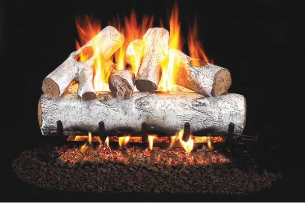 Real Fyre White Birch Logs with Stainless Steel G45 Burner
