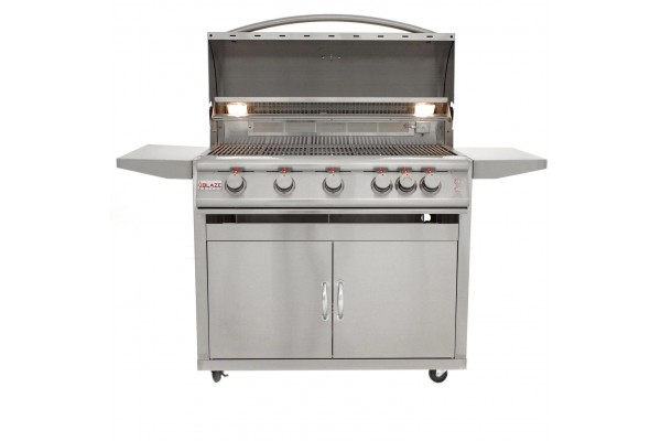 Blaze 40-inch 5 Burner Portable LTE Gas Grill with Rear Burner and Lighting System